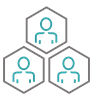 icon honeycomb of team members